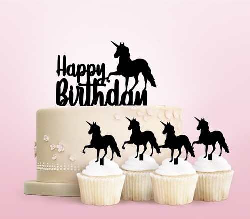 TC0143 Happy Birthday Unicorn Party Wedding Birthday Acrylic Cake Topper Cupcake Toppers Decor Set 11 pcs