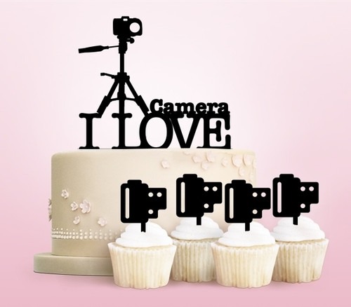 TC0145 I Love Camera Party Wedding Birthday Acrylic Cake Topper Cupcake Toppers Decor Set 11 pcs
