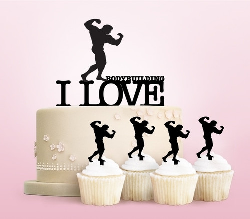 TC0204 I Love Bodybuilding Party Wedding Birthday Acrylic Cake Topper Cupcake Toppers Decor Set 11 pcs