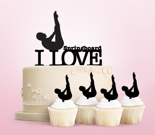 TC0214 I Love Diving Swimmer Party Wedding Birthday Acrylic Cake Topper Cupcake Toppers Decor Set 11 pcs