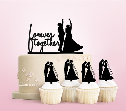 TC0215 Forever Together Marry Party Wedding Birthday Acrylic Cake Topper Cupcake Toppers Decor Set 11 pcs