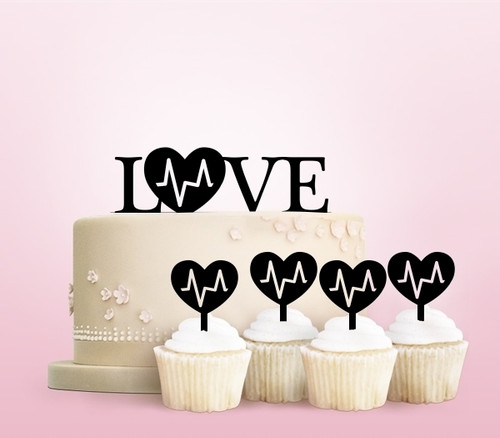 TC0216 Love Heart Party Wedding Birthday Acrylic Cake Topper Cupcake Toppers Decor Set 11 pcs