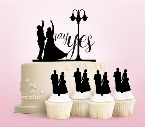 TC0217 Say Yes Marry Party Wedding Birthday Acrylic Cake Topper Cupcake Toppers Decor Set 11 pcs