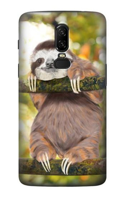 S3138 Cute Baby Sloth Paint Case For OnePlus 6