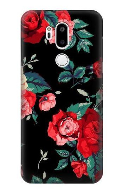 S3112 Rose Floral Pattern Black Case For LG G7 ThinQ