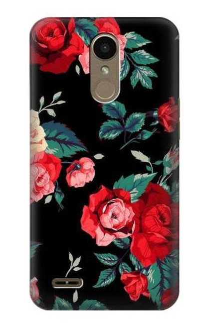 S3112 Rose Floral Pattern Black Case For LG K10 (2018), LG K30