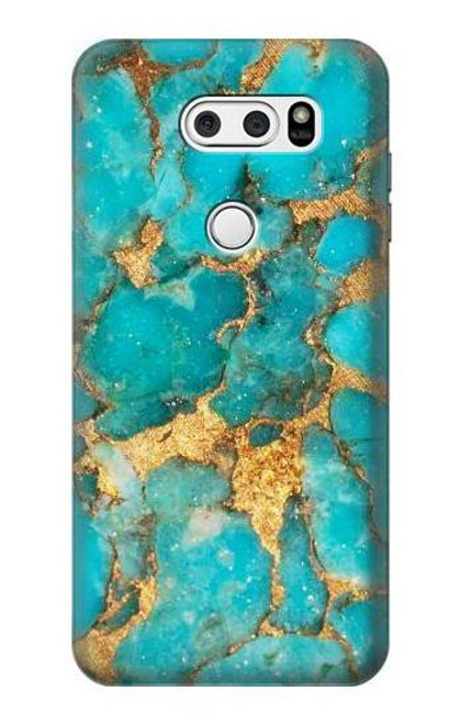 S2906 Aqua Turquoise Stone Case For LG V30, LG V30 Plus, LG V30S ThinQ, LG V35, LG V35 ThinQ