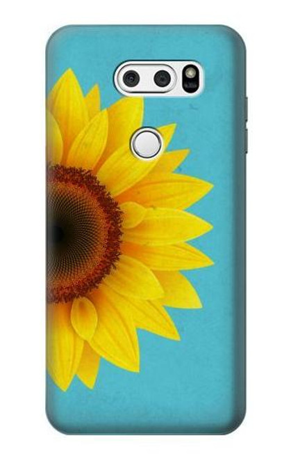 S3039 Vintage Sunflower Blue Case For LG V30, LG V30 Plus, LG V30S ThinQ, LG V35, LG V35 ThinQ