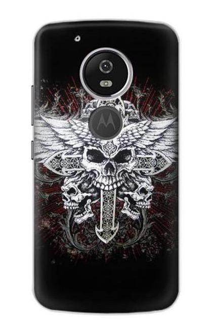 S1434 Skull Wing Tattoo Biker Case For Motorola Moto G6 Play, Moto G6 Forge, Moto E5