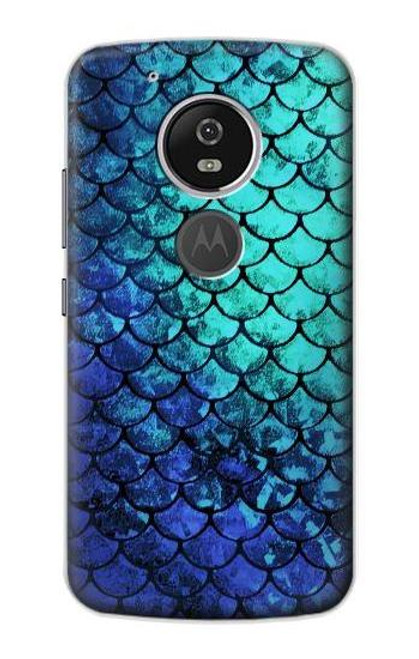 S3047 Green Mermaid Fish Scale Case For Motorola Moto G6 Play, Moto G6 Forge, Moto E5