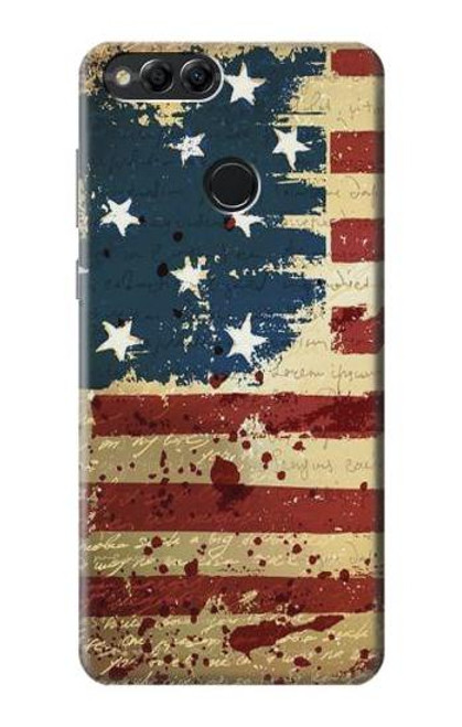 S2349 Old American Flag Case For Huawei Honor 7x, Huawei Mate SE