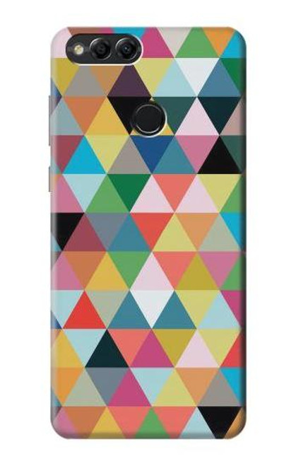 S3049 Triangles Vibrant Colors Case For Huawei Honor 7x, Huawei Mate SE