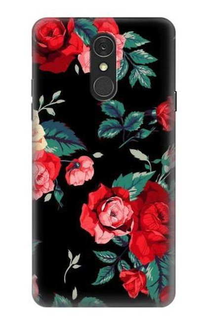 S3112 Rose Floral Pattern Black Case For LG Q7