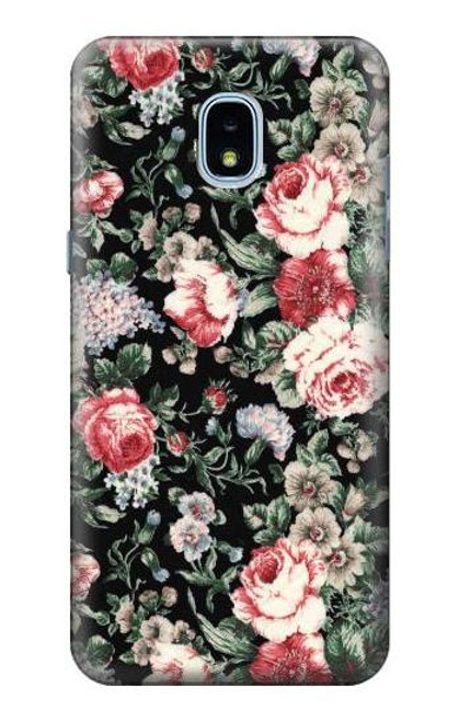 S2727 Vintage Rose Pattern Case For Samsung Galaxy J3 (2018), J3 Star, J3 V 3rd Gen, J3 Orbit, J3 Achieve, Express Prime 3, Amp Prime 3