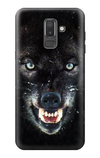 S2823 Black Wolf Blue Eyes Face Case For Samsung Galaxy J8 (2018)