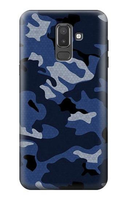 S2959 Navy Blue Camo Camouflage Case For Samsung Galaxy J8 (2018)
