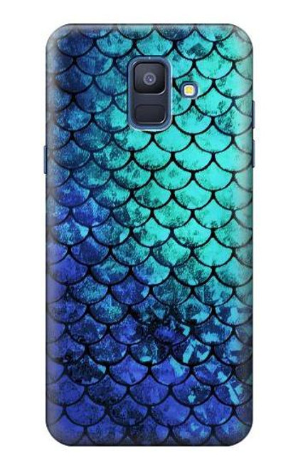 S3047 Green Mermaid Fish Scale Case For Samsung Galaxy A6 (2018)