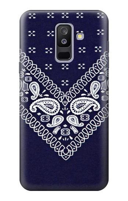 S3357 Navy Blue Bandana Pattern Case For Samsung Galaxy A6+ (2018), J8 Plus 2018, A6 Plus 2018
