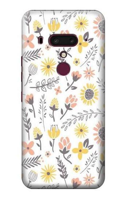 S2354 Pastel Flowers Pattern Case For HTC U12+, HTC U12 Plus