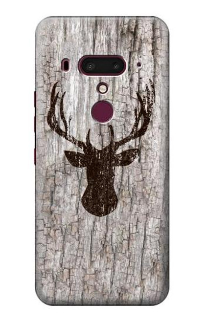 S2505 Reindeer Head Old Wood Texture Graphic Case For HTC U12+, HTC U12 Plus