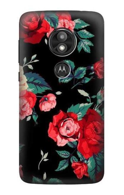 S3112 Rose Floral Pattern Black Case For Motorola Moto E Play (5th Gen.), Moto E5 Play, Moto E5 Cruise (E5 Play US Version)