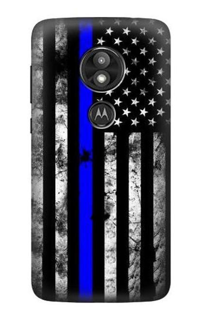 S3244 Thin Blue Line USA Case For Motorola Moto E Play (5th Gen.), Moto E5 Play, Moto E5 Cruise (E5 Play US Version)