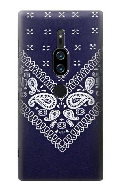 S3357 Navy Blue Bandana Pattern Case For Sony Xperia XZ2 Premium
