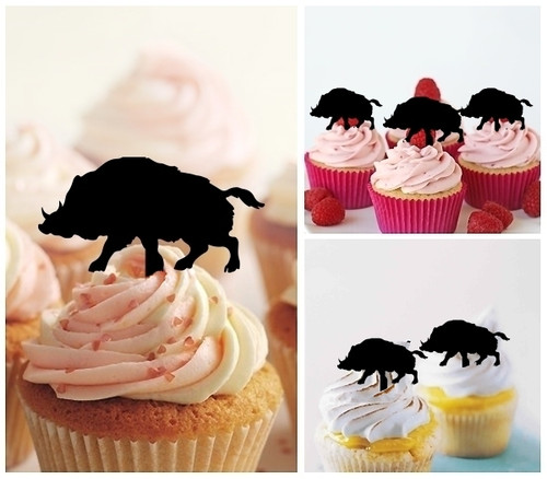 TA0752 Wild Boar Pig Silhouette Party Wedding Birthday Acrylic Cupcake Toppers Decor 10 pcs