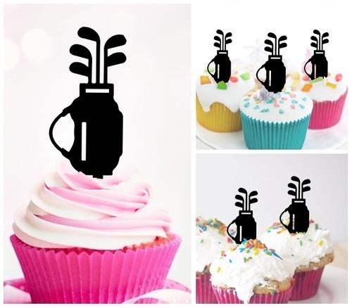 TA0775 Golf Club Bag Silhouette Party Wedding Birthday Acrylic Cupcake Toppers Decor 10 pcs