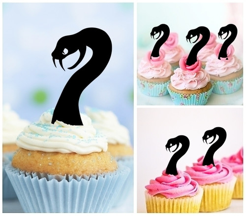 TA0778 Cobra Snake Head Silhouette Party Wedding Birthday Acrylic Cupcake Toppers Decor 10 pcs