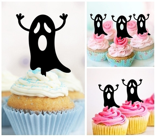 TA0781 Funny Flying Ghost Silhouette Party Wedding Birthday Acrylic Cupcake Toppers Decor 10 pcs