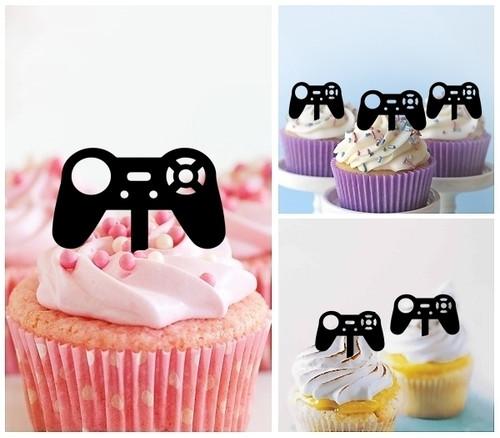 TA0849 Gamepad Video Game Controller Joystick Silhouette Party Wedding Birthday Acrylic Cupcake Toppers Decor 10 pcs