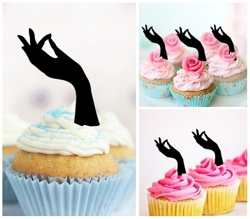TA0871 Beautiful Hand Silhouette Party Wedding Birthday Acrylic Cupcake Toppers Decor 10 pcs
