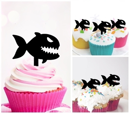 TA0875 Piranha Fish Silhouette Party Wedding Birthday Acrylic Cupcake Toppers Decor 10 pcs