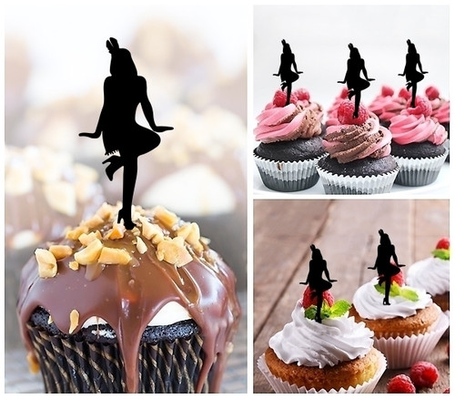 TA0877 Flapper Dancer Girl Silhouette Party Wedding Birthday Acrylic Cupcake Toppers Decor 10 pcs