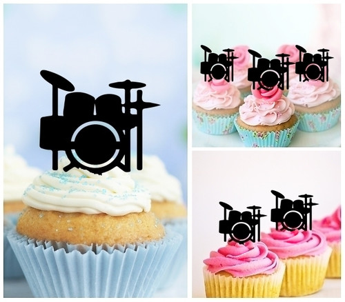 TA0878 Drum Set Silhouette Party Wedding Birthday Acrylic Cupcake Toppers Decor 10 pcs