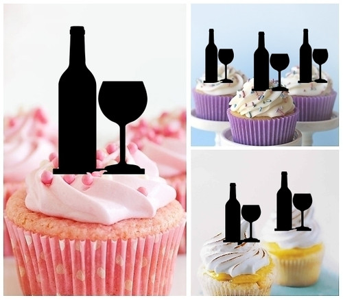 TA0879 Wine Bottle Glass Silhouette Party Wedding Birthday Acrylic Cupcake Toppers Decor 10 pcs