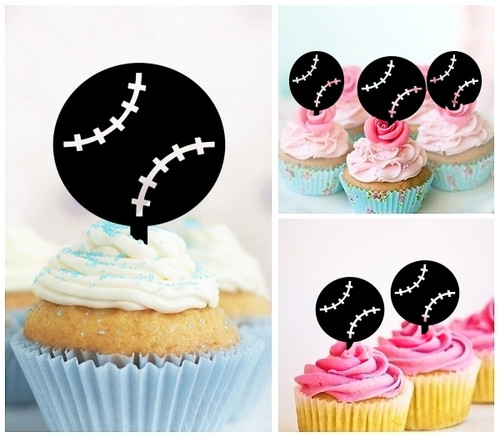TA0881 Baseball Ball Silhouette Party Wedding Birthday Acrylic Cupcake Toppers Decor 10 pcs