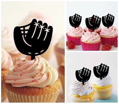 TA0882 Baseball Glove Silhouette Party Wedding Birthday Acrylic Cupcake Toppers Decor 10 pcs