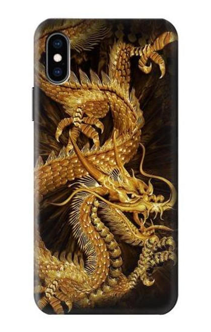 S2804 Chinese Gold Dragon Printed Case For iPhone X, iPhone XS
