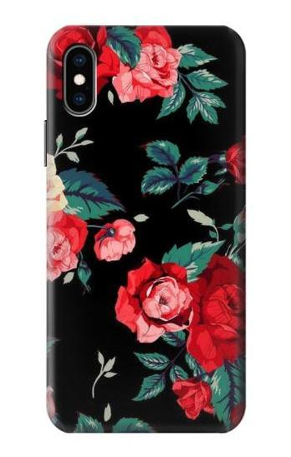S3112 Rose Floral Pattern Black Case For iPhone X, iPhone XS