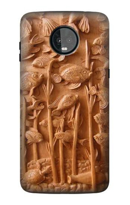 S1307 Fish Wood Carving Graphic Printed Case For Motorola Moto Z3, Z3 Play