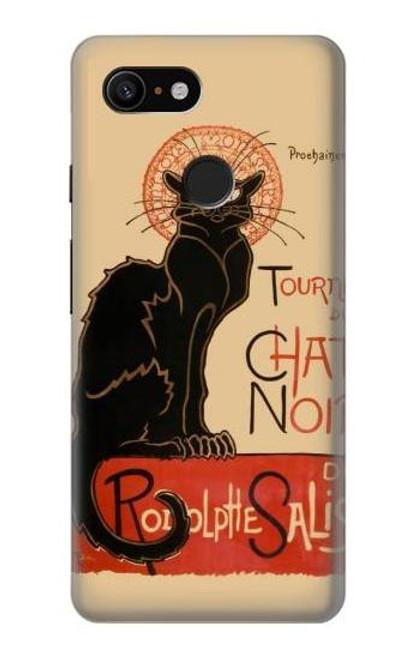 S2739 Chat Noir Black Cat Vintage Case For Google Pixel 3