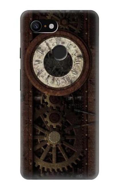 S3221 Steampunk Clock Gears Case For Google Pixel 3