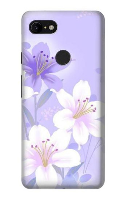 S2361 Purple White Flowers Case For Google Pixel 3 XL