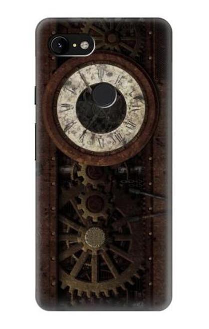 S3221 Steampunk Clock Gears Case For Google Pixel 3 XL
