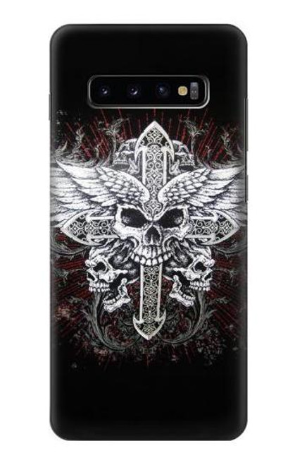 S1434 Skull Wing Tattoo Biker Case For Samsung Galaxy S10 Plus