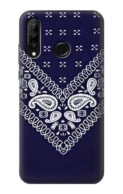 S3357 Navy Blue Bandana Pattern Case For Huawei P30 lite