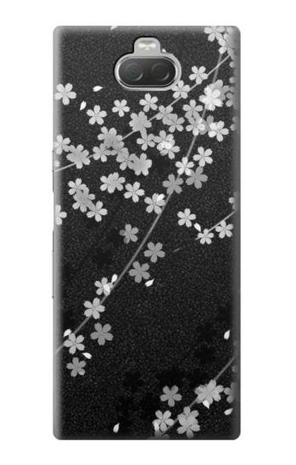 S2544 Japanese Kimono Style Black Flower Pattern Case For Sony Xperia 10
