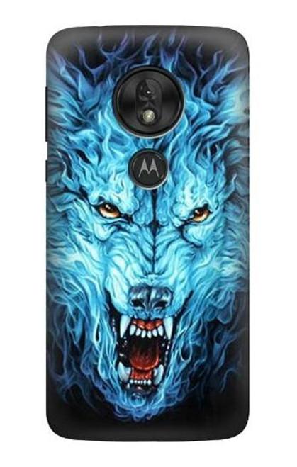 S0752 Blue Fire Grim Wolf Case For Motorola Moto G7 Play